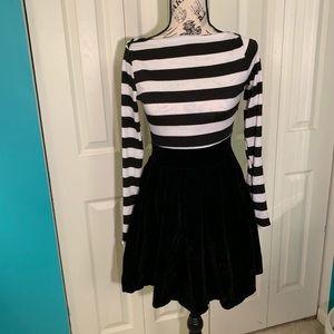 Cute black and white knit/velvet dress